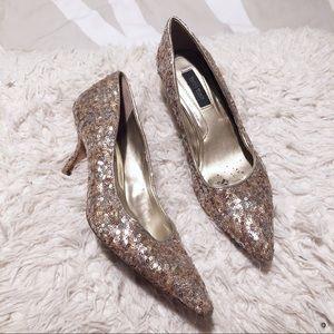 White House Black Market metallic sequin heels!
